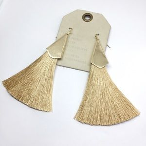 NWT Anthropologie Champagne Tassels Earrings